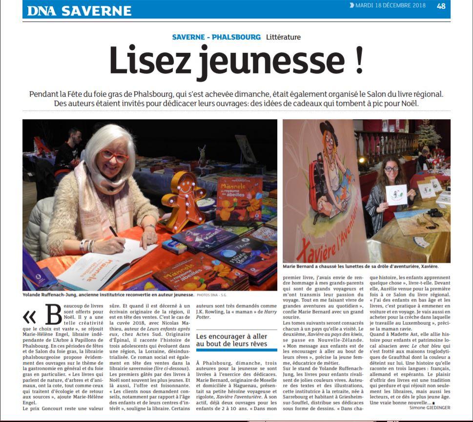 Article du journal DNA Saverne Xavière l'Aventurière au salon du livre de Phalsbourg
