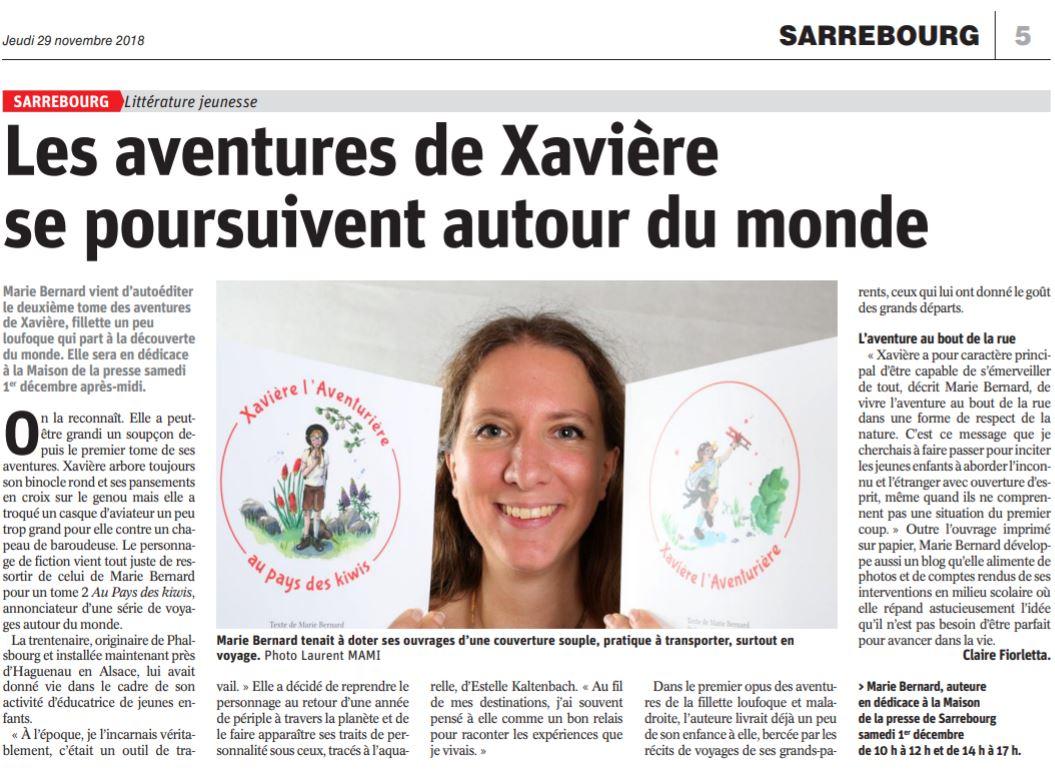 article journal xavière l'aventurière républicain lorrain sarrebourg livre enfant