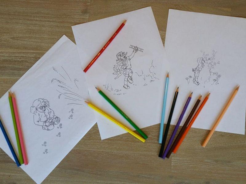 Coloriage Xavière l'Aventurière crayons