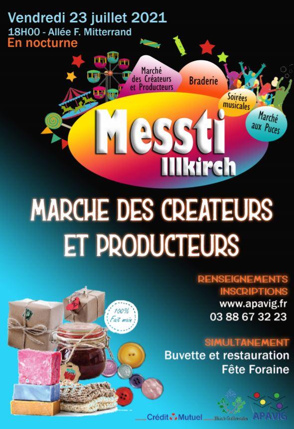 Affiche marché créateurs et producteurs Illkirch Xavière l'Aventurière 2021